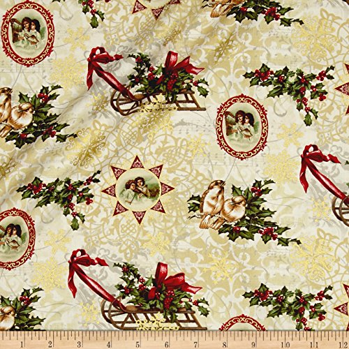 Benartex Florentine Christmas Metallic Florentine Christmas Antique Fabric By The Yard Bristol Bay 1 Light