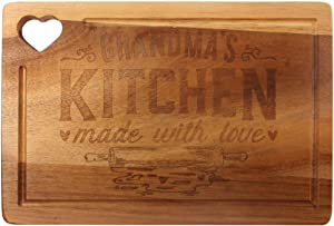 HomeLove Inc. Funny Grandma Kitchen Made With Love Bamboo Cutting Board, Gifts for Mom, Gigi, Nana, Grandma, Mothers Day Birthday or Christmas Gift From GrandDaughter or GrandSon