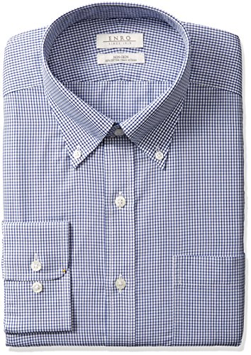 Enro Men's Big and Tall Combs Check Non-Iron Big & Tall Dress Shirt, Navy, 200 x 36/37 ()