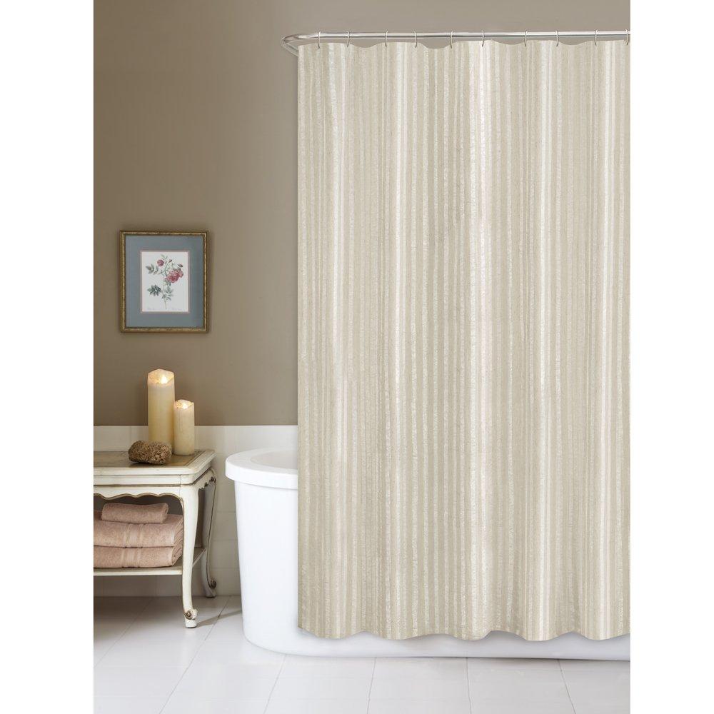 beige striped shower curtain.  Amazon com Maytex Linen Stripe Fabric Shower Curtain Home Kitchen