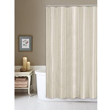 Maytex Linen Stripe Fabric Shower Curtain