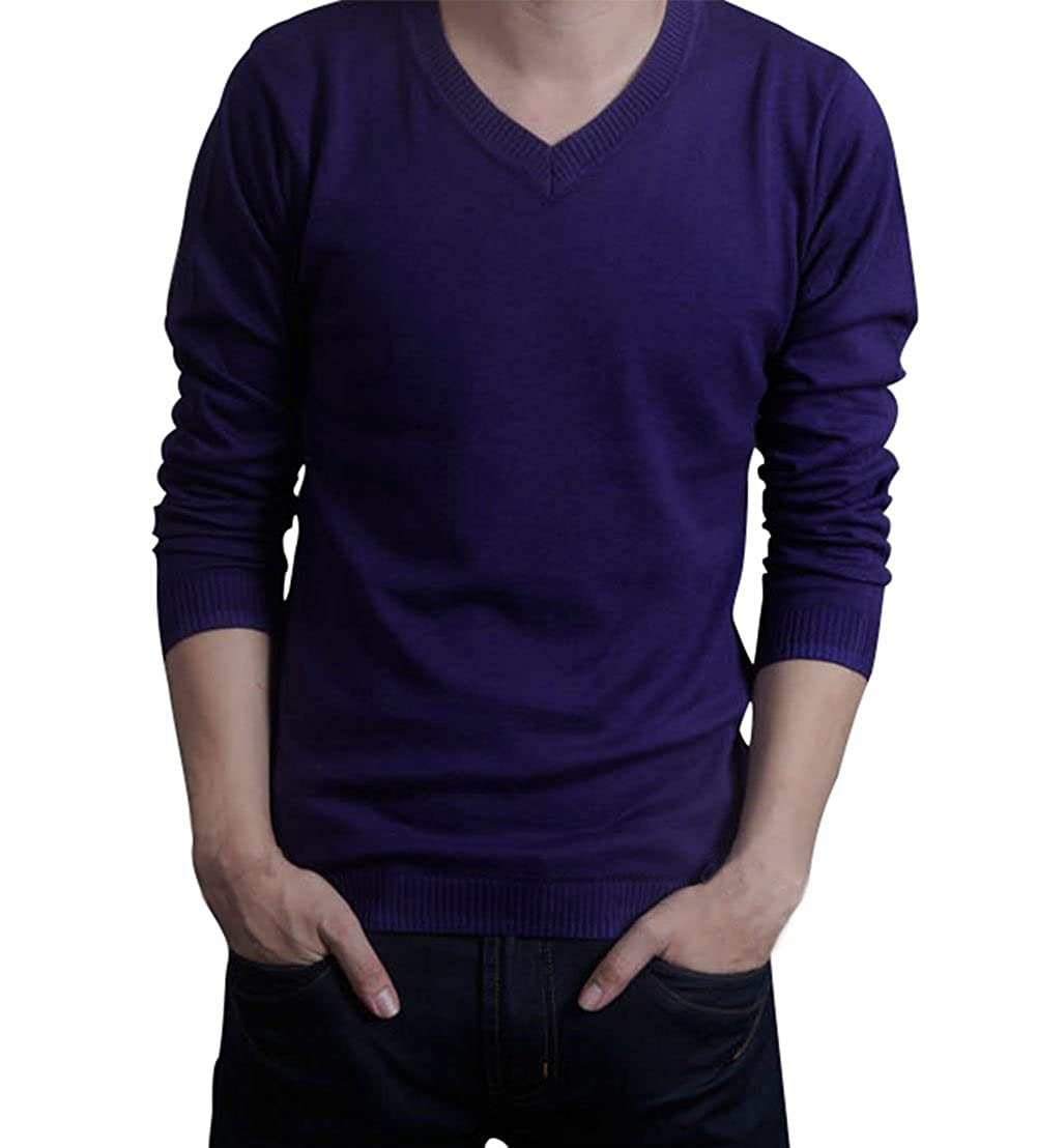 Lyamazing Mens V-Neck Long Sleeve Knitted Pullover Sweaters