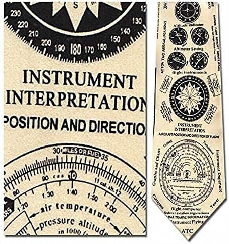 Mens 100% Silk Beige Airplane Instruments of Flight Necktie Tie Neckwear