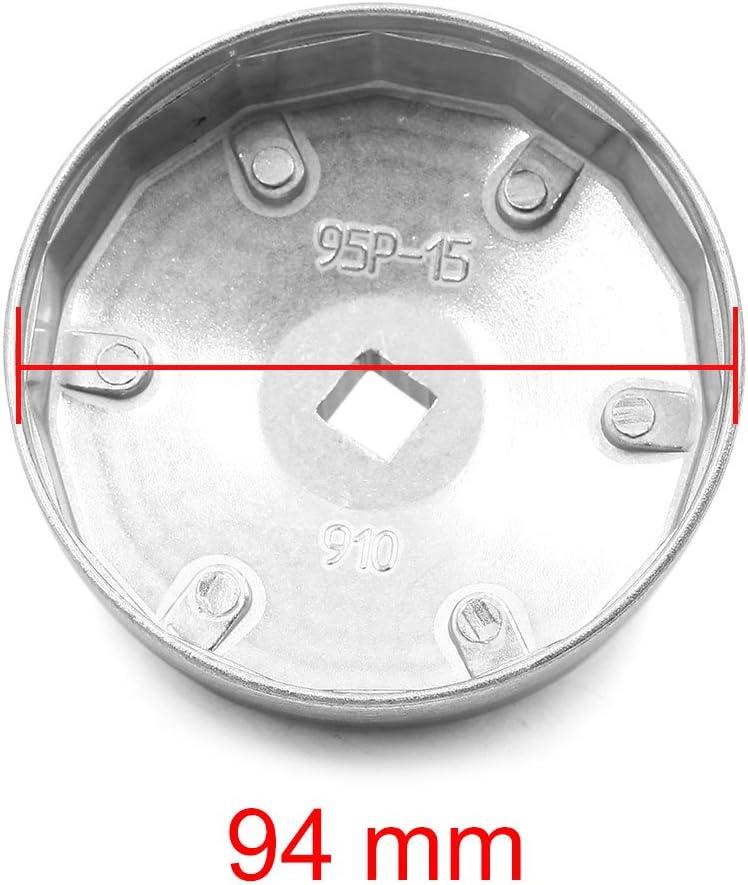 sourcing map Coche Cami/ón 15 Ranuras 94mm Di/ámetro Interior Llave de Filtro de Aceite
