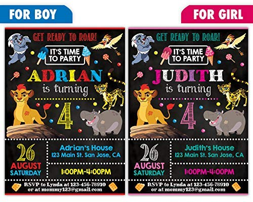 Custom Lion Guard Birthday Party Invitations For Boy Or Girl 10pc 60pc 4x6 5x7 Cards With White Envelopes Printed On Premium 265gsm Card
