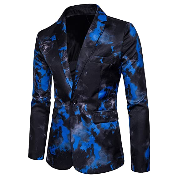 eba60f136314 Blazer Slim Fit Casual Elegant Un Bouton Costume Imprimé Jacket Veste Homme  Bleu S