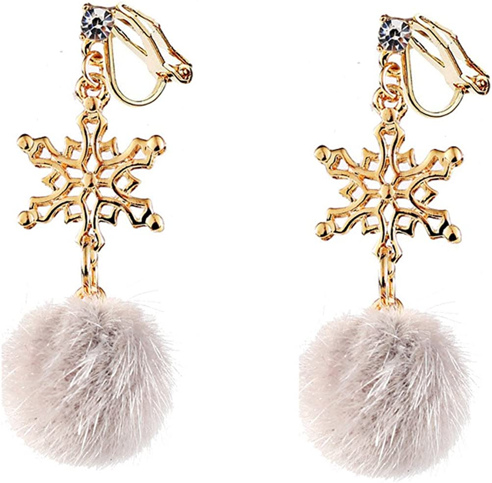 Clip on Earring Backs with Pads Dangle Snowflake White Gold Plated for Women Girls Kids Jewelry Gift Box