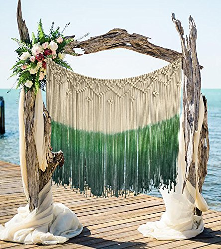 Flber Dip-Dyed Macrame Woven Wall Art Curtain Home Décor
