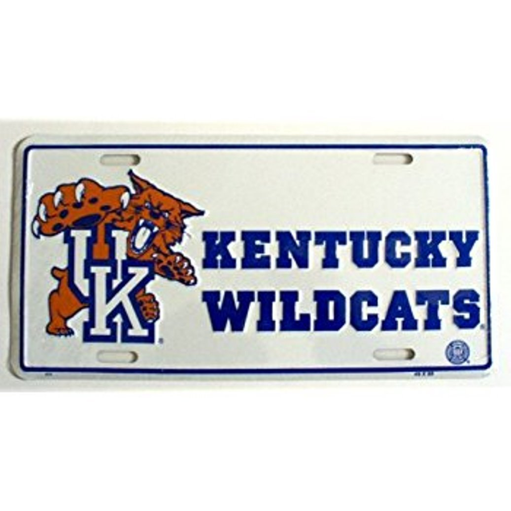 NCAA University Of Kentucky Wildcats White 6 x 12 Embossed Aluminum License Plate