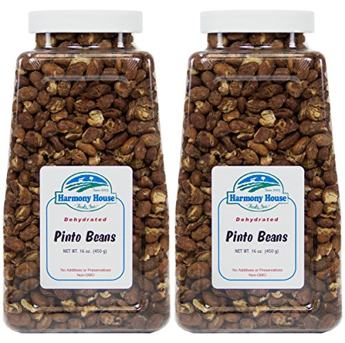 Harmony House Foods Dehydrated Pinto Beans (16 Oz Quart Size Jar) - Set of 2 by Harmony House Foods