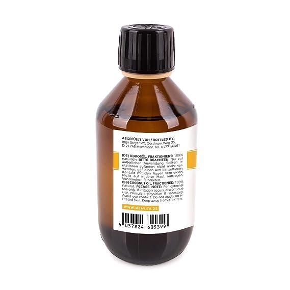 MeaVita - Aceite de coco puro fraccionado y líquido, aceite natural de belleza, sin olor, para el cuidado de la piel y el cabello y para masajes corporales ...