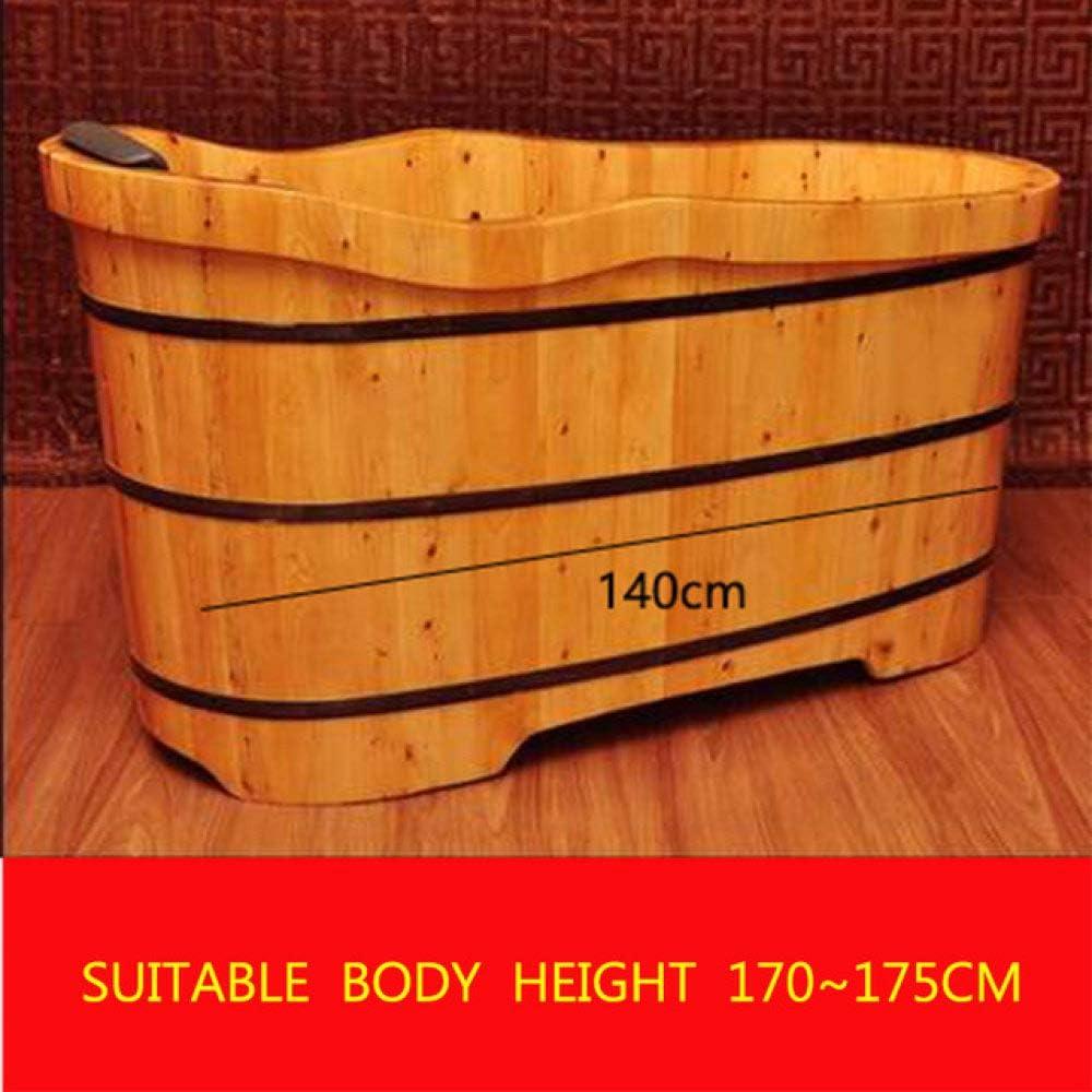 Lku Bañera de Barril de Madera de Cedro Piscina de Madera Asiento de Seguridad Soporte bañera para el hogar, 140 cm