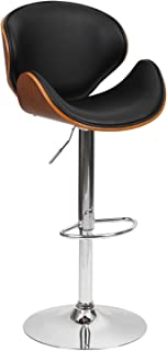 1home Wood Barstool Chair Walnut Bentwood Faux PU Leather Adjustable Barstools Chrome Swivel Stool Chairs  sc 1 st  Amazon UK & ASPECT Adjustable Bentwood Bar Stool with Leather Seat and Chrome ... islam-shia.org