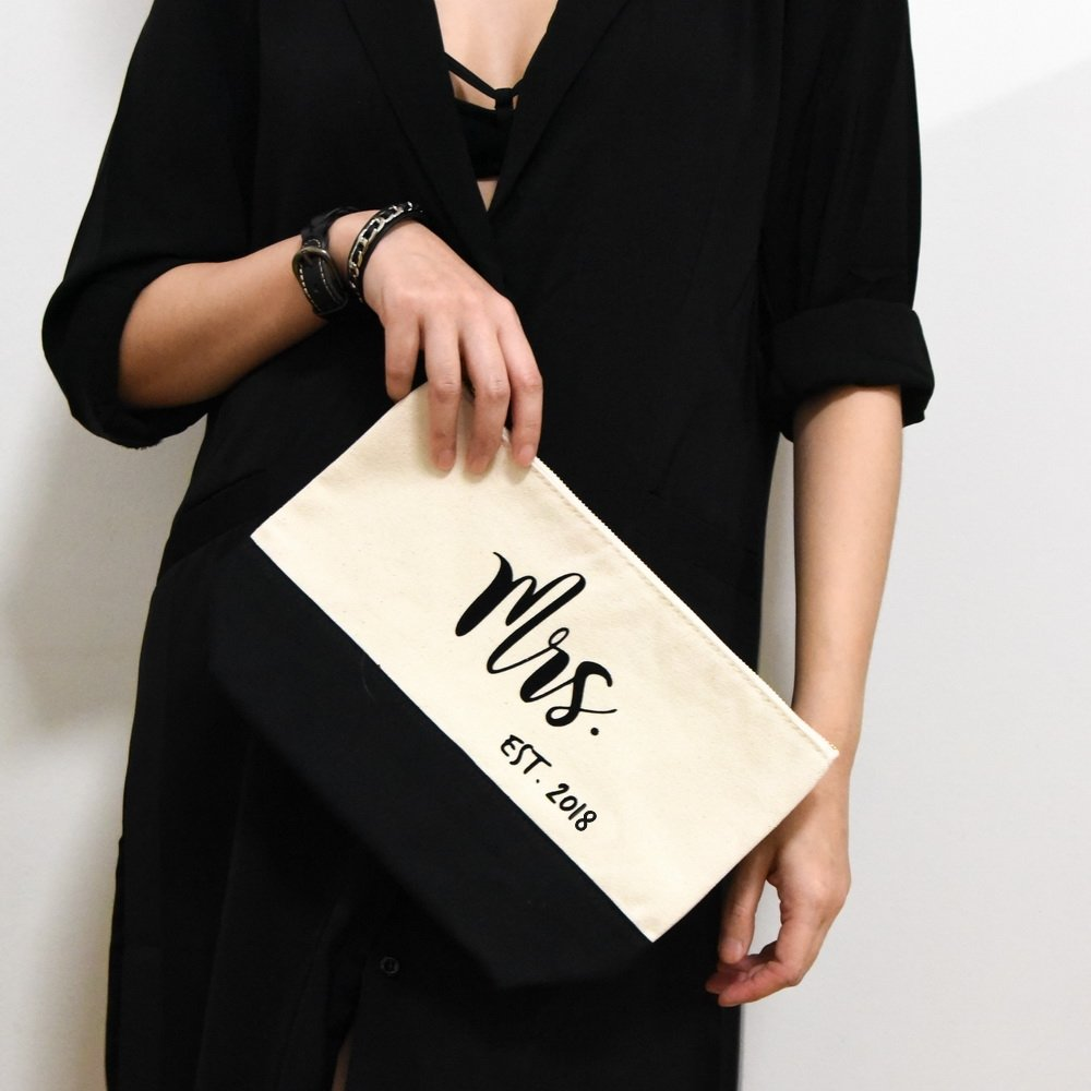 PumPumpz Personalized Gifts Wedding ''Mrs. Est. 2018'' Large Canvas Travel YKK Zipper Makeup Bag.''Which arrive you within 5 days'' (Mrs Black) by PumPumpz (Image #6)
