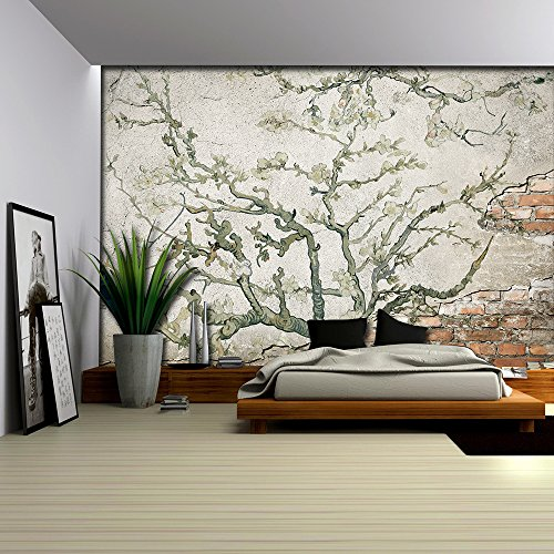 Almond Blossom Painting by Vincent Van Gogh on a Brick Wall with Cement Wall Mural