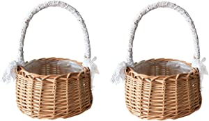 SJDWDX Wicker Rattan Flower Basket - Wedding Flower Girl Baskets with White Lace Bow - Handmade Rustic Woven Storage Basket with Handle and Plastic Lining for Wedding Home Garden Decor (2Pcs)