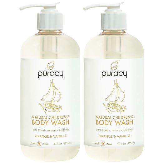 Puracy Natural Children's Body Wash, Orange & Vanilla Tear-Free Kid's Soap, 12 Ounce (2-Pack)