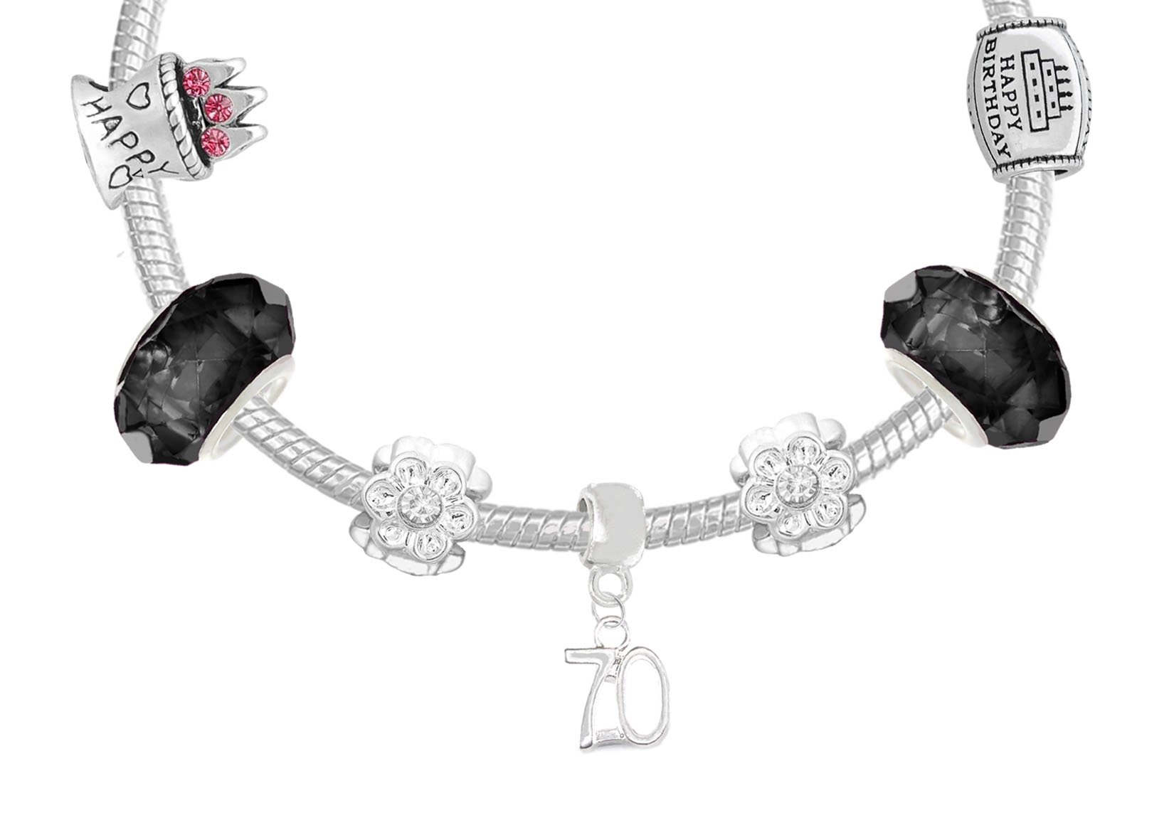 70th Birthday Good Luck Lucky Black Silver Pandora Style Bracelet With Charms Gift Box Jewelry by Charm Buddy (Image #5)