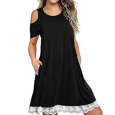 c453f2db4 Sagton Women Cold Shoulder Short Sleeve Loose T-Shirt Dress at ...