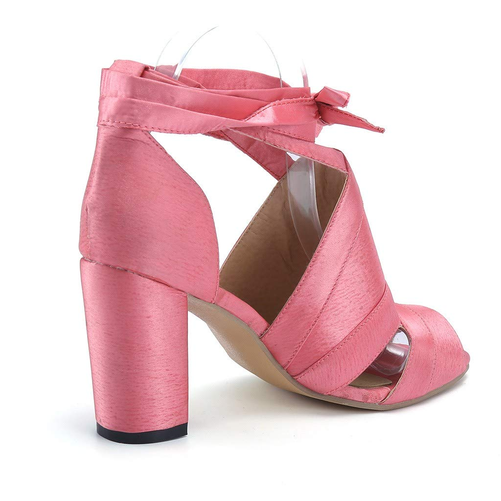 Amazon.com: YKARITIANNA Fashion Women Summer Lace-Up Ankle Strap Chunky Heel Peep Toe Shoe Party Heeled Sandals: Arts, Crafts & Sewing