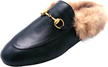 0c55b2bfd91 ENMAYER Women s Black Retro Fashion Loafers Round Toe Slip on Flat Outdoor  Slippers with Furry and