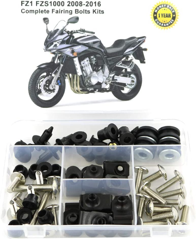 Matte Black Mounting Kits Washers//Nuts//Fastenings//Clips//Grommets for YAMAHA FZ1 FZS1000 2008 2009 2010 2011 2012 2013 2014 2015 2016 Xitomer Full Sets Fairing Bolts Kits