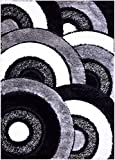 Cheap Royal Collection Black Gray White Abstract Circles Contemporary Design Shaggy Area Rug (6051) (3'3″x7′ Runner)