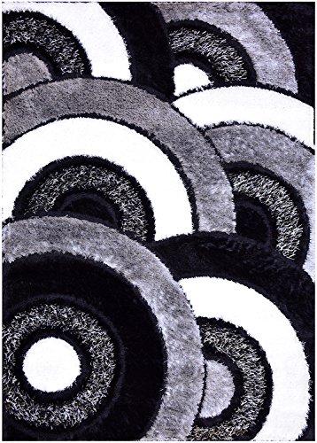 Royal Collection Black Gray White Abstract Circles Contemporary Design Shaggy Area Rug (6051) (3