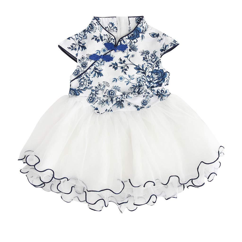 2019 Baby Girls Princess Lace Dress Toddler Kids Embroidery Cheongsam Party Dresses Tulle Tutu 1-5T (4-5 Years, Blue) by Dasuy (Image #1)