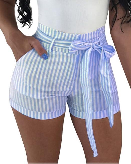 f2ee61c19e ShallGood Mujer Pantalones Cortos con Cinturón Verano Moda Casual Rayas  Alta Cintura Shorts Playa Fiesta Hot Pants  Amazon.es  Ropa y accesorios