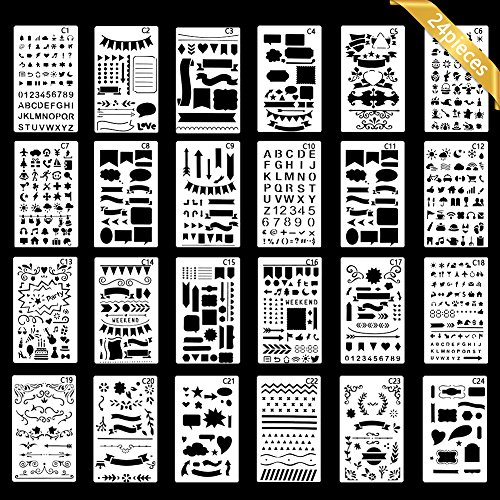 Stencil Doodle (Bullet Journal Stencil, Gookit 24 Packs Plastic Journal Stencil Painting Shapes Letter Journaling Set DIY Drawing Template Stencil 4x7 Inch)