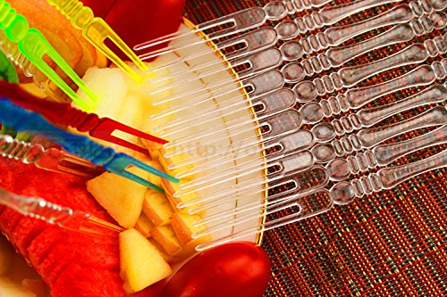 Colorful Plastic Fruit Forks Dessert Fork Set Snack Picks Sticks for KTV Home Camping DALU.A.F 100 PCS Disposable Clear Colorful - 100 pcs