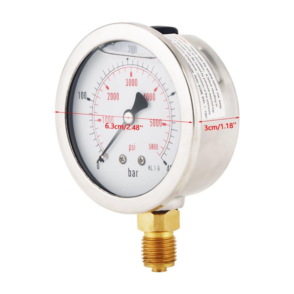 Dial Hydraulic Pressure Gauge Meter Pressure Gauges Vacuum Air Compressor Hydraulic Pressure Gauge 0-400BAR 0-5800 PSI G1//4 63mm