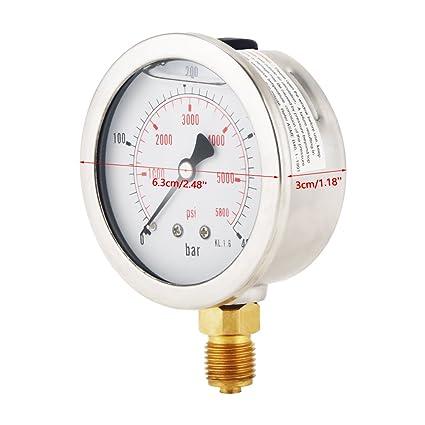Akozon Medidor de presión de agua, 0-400BAR 0-5800PSI G1 / 4 63mm de escala dual Manómetro de presión del neumática e hidráulica: Amazon.es: Industria, ...