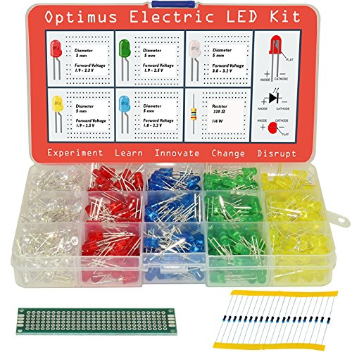 5mm Diffused LED Diode Assortment Kit - Pack of Assorted Color LEDs and Resistors (600 pcs) - Red, Green, Yellow, Blue and White Light Emiting Diode Indicator Lights from Optimus (Led Assortment)