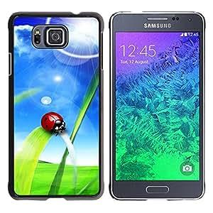 Carcasa Funda Prima Delgada SLIM Casa Case Bandera Cover Shell para Samsung GALAXY ALPHA G850 / Business Style Ladybug Sun