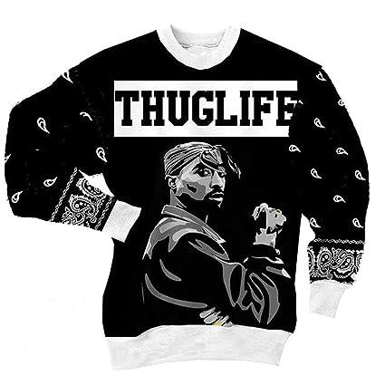 MOIMK Unisex 3D Print Rap 2Pac Tupac Sudaderas con Capucha Hip Hop Sudaderas Cuello Redondo suéter