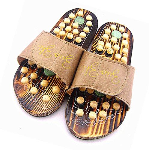 Exdream Rotating Acupuncture Foot Healthy Shoe Reflex Massage Sandal Slippers (9 US Women/7 US Men, Coffee)