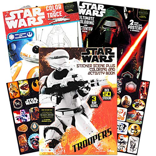Star Wars Coloring Book Super Set with Stickers and Posters (3 Jumbo Books - Over 200 Pages Total, 2 Posters, Over 30 Stickers) (Star Wars Games For 3 Year Old)