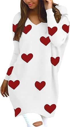 Style Dome Jerseys de Punto Mujer Largos Sudadera Casual Cuello V Manga Larga Otoño Vestidos Plus Tamaño Tops Camisas Suéter Suelta