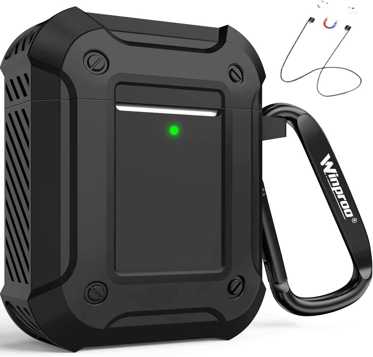 Winproo AirPods Case Cover, Full-Body Rugged Protective Case for Apple AirPods 2 & 1 Charging Case, Resilient Silicone Shock Absorption Air pod Case with Keychain, 4 in 1 airpod s Cover for Men, Black