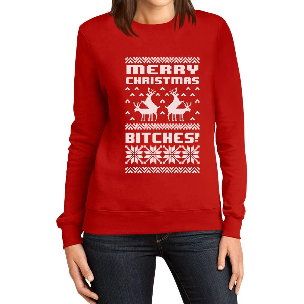Rennes Chandail Pull de No/ël Sweatshirt Femme Merry Christmas Bitches