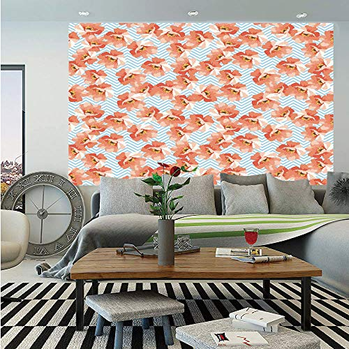 SoSung Coral Wall Mural,Soft Pastel Poppy Flowers on Chevron Zigzag Backdrop Romantic Feminine,Self-Adhesive Large Wallpaper for Home Decor 83x120 inches,Coral Light Blue Yellow