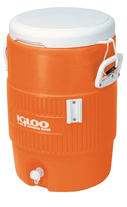 Igloo 5-Gallon Heavy-Duty Beverage Cooler, Orange & Ultimate Drip Catcher Set