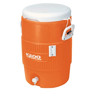 Igloo 5-Gallon Heavy-Duty Beverage Cooler, Orange & Ultimate Drip Catcher Set
