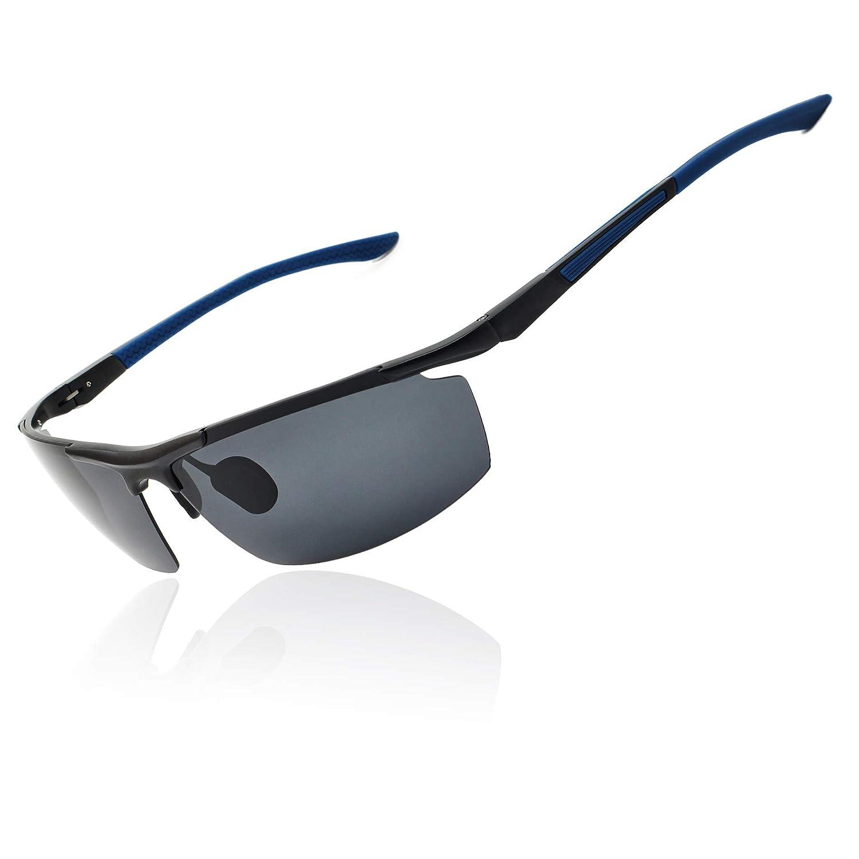 dbeefa6f08 Amazon.com  Ronsou Men Sport Aluminium-Magnesium Polarized Sunglasses For  Driving Cycling Fishing Golf blue legs  Clothing