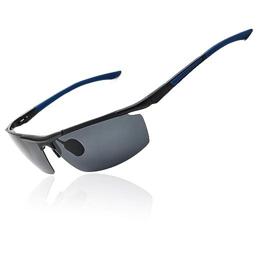 de54ea8e42 Ronsou Men Sport Aluminium-Magnesium Polarized Sunglasses For Driving  Cycling Fishing Golf blue legs