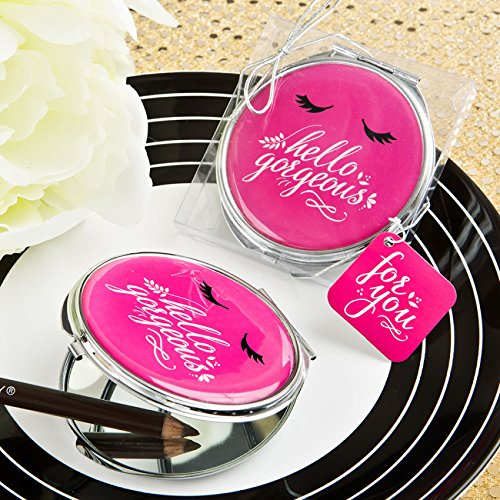 60 Hello Gorgeous Silver Metal Compact Mirror in Hot Pink by Fashioncraft