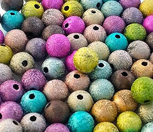Assorted Multicolor Acrylic Plastic Round Stardust Glitter Beads For Jewelry Making, Crafts (8mm)