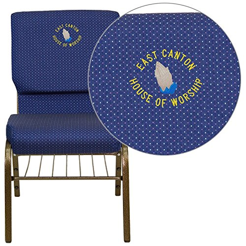 (Flash Furniture embroidered church chair XU-CH-60096-NVY-DOT-BAS-EMB-GG)